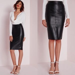 New Missguided Faux Leather Black Pencil Skirt